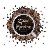 一杯热咖啡早上好词 — 图库矢量图片