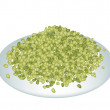 Stock Vector: Lot of Mung Beans on White Plate
