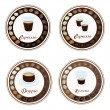 Stock Vector: Four Type of Hot Coffee in Retro Round Label