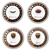 Four Kind of Coffee Drink in Retro Round Label — Stock Vector