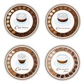 Four Type of Coffee Beverage in Retro Round Label — Stock Vector
