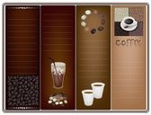 A Coffee Brochure Template on Brown Background — Stock Vector