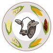 Round Label of A Cow with Fresh Corn — Stockfoto
