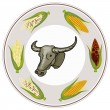 Round Label of A Buffalo with Fresh Corn — Stock Photo