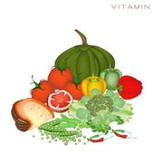 Health and Nutrition Benefits of Vitamin Foods — Stockvector