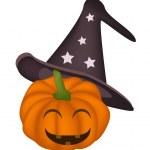 Happy Jack-o-Lantern Pumpkin on A White Background — Stock Vector