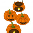 Four Jack-o-Lantern Pumpkins with Candle Light Inside — Stock Vector