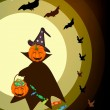 图库矢量图片: Happy Halloween Pumpkin with Candy Basket on Night Background