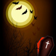 Vector de stock : Open Coffin on Halloween Night Background