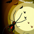 Wektor stockowy : Two Evil Spiders on Full Moon Background