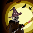 图库矢量图片: Halloween Ghost Witch on Night Background