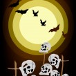 Vector de stock : Evil Bats Flying Over Graveyard on Night Background