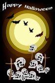 Kwaad vleermuizen vliegen over het kerkhof op nacht achtergrond — Stockvector