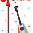 Stock Vector: 2014 New Year Gift Card of Ukulele Guitar