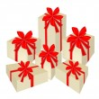 Set of Beautiful Gift Boxes with Red Ribbon — Stock Vector
