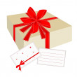 Gift Box with Red Ribbon and Blank Card — Stock Vector #32676895
