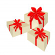 Three Beautiful Gift Boxes with Red Ribbon — Stock Vector