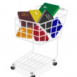 Colorful Holy Bibles in A Shopping Cart — Stock Vector #33976429