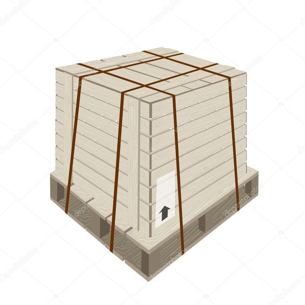caixa de transporte com cintas de aço na palete — Ilustração de  #64320B 1024x1024