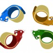 Four Colors of Adhesive Tape Dispenser on White Background — Stock vektor