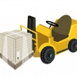 A Forklift Truck Loading A Shipping Box with Plastic Wrap — Stock Vector #34826203