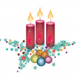 Christmas Candles Decoration on Fir Twigs and Christmas Balls  — Стоковая фотография