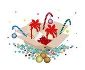 Christmas Ornament in Gift Boxes on Fir Twigs — Stockfoto