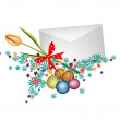 Orange Tulip in Envelope with Christmas Balls — Stock Vector