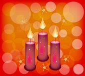 Three Candles on A Red Abstract Background — Stock Vector