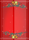 Red Background of Christmas Balls on Fir Twigs — Stockvector
