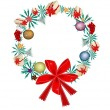 Stock Vector: Christmas Wreath with Christmas Ornaments and Red Bow