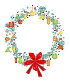 Christmas Wreath with Price Tag and Red Bow — Vetor de Stock