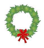 Christmas krans grön lönn löv och bågar — Stockvektor