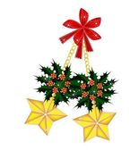 Golden Stars and Christmas Holly with Red Bow — Stok Vektör