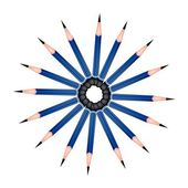 A Circle Formed of Sharpened Pencils on White Background — Stock Vector