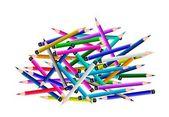 Um grupo de lápis de cor sobre fundo branco — Vetor de Stock