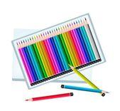 Conjunto de lápis de cor em uma caixa — Vetor de Stock