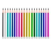 Set of Coloful Sharpened Pencils on White Background — Stock Vector