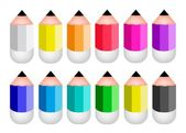 Colorful Sharpened Pencil Icons on White Background — Stock Vector