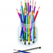 A Group of Colored Pencils in A Jar — Stock Photo
