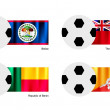 Постер, плакат: Soccer Ball with Belize Bermuda Benin and Bhutan Flag