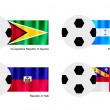 Stock Vector: Soccer Ball with Guyana, Honduras, Haiti and Herm Flag