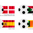 Soccer Ball with Malta, Sudan, Spain and Sri Lanka Flag — Stock Vector #40920071