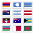 Vector de stock : Twelve National Flags on Metal Texture Plates
