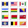Twelve National Flags on Metal Texture Plates — Wektor stockowy #40997377