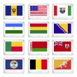 Vecteur: Twelve National Flags on Metal Texture Plates