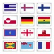 ストックベクタ: Collection Flags on Metal Texture Plates