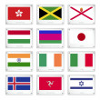 ストックベクタ: Group of National Flags on Metal Texture Plates