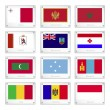 Vector de stock : Official National Flags on Metal Texture Plates