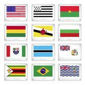 национальные флаги на плиты металлические текстуры — Cтоковый вектор